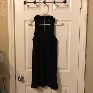 Black cut out V-neck Collar choker flowy dress